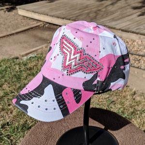 New custom pink camo wonder woman bling hat